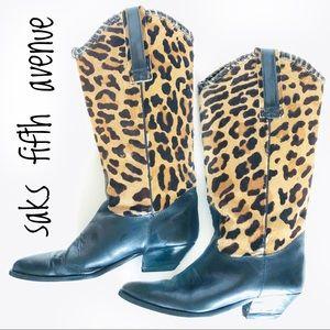 Vintage Calf Hair Leopard Leather Cowboy Boots 9.5